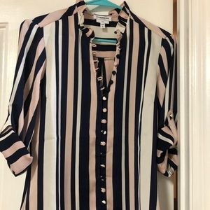 EXPRESS STRIPED PINK AND BLUE BLOUSE